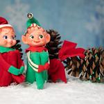 Vintage Christmas Elf Knee Huggar Tree Ornament thumbnail
