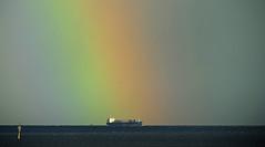 RAINBOW Freighter / Regenbogen-Frachter (Manfred_H.) Tags: vehicles wetterphänomene fahrzeuge schiffe ships weatherphenomenons regenbogen rainbow riverelbe cuxhaven ausenelbe outerriverelbe nordsee northsea
