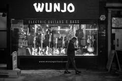 Wunjo Guitar & Bass (cybertect) Tags: canonfd50mmf14 denmarkstreet london londonwc2 sonya7ii wc2 wunjo wunjoguitars bass bassguitar blackwhite blackandwhite monochrome music night shop window