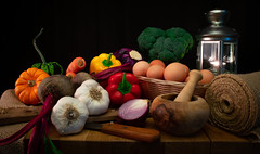 Vegetables (jenniferarce) Tags: still life vegetables light color eggs kitchen wood