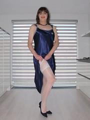 Legs (Paula Satijn) Tags: sexy hot girl babe silk satin nightdress nightie smooth soft blue nightgown stockings lace stockingtops legs happy joy fun smile girly feminine sensual kitchen pumps heels holdups shiny