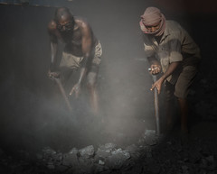 The Divine Comedy– Inferno (ybiberman) Tags: varanasi india utterpradesh men working coal workers dust shovel barefoot people streetphotography candid