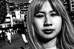 Close and personal at Shibuya (Victor Borst) Tags: street streetphotography reallife streetlife real realpeople asia asian asians faces face candid travel travelling trip traveling traffic urban urbanroots urbanjungle girl woman lady female close up shibuyacrossing mono monotone monochrome blackandwhite bw beautiful sexy hot portrait streetportrait city cityscape citylife fuji fujifilm xpro2 expression