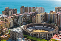Malaga Bullring (Strangelove 1981) Tags: 2018 costadelsol espana spain holiday bullring travel travelphotography sea mediterranean apartments apartment buildings architecture ring building citycentre city cityscape landscape