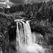 Taking in The Complete Setting of Snoqualmie Falls (Black & White)