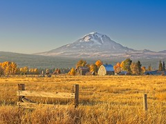Mt Adams Barns Late Autumn Day 2135 G (jim.choate59) Tags: jchoate on1pics mountain autumn fallseason tree fence barn color rural field magichour glenwoodwashington klickitatcounty gold golden d610 hff mtadams