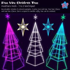 *R!* Free Wire Christmas Tree for Second Life (cari-rez-lobo) Tags: christmas xmas secondlife sl game virtual tree pine wire wireframe cyber scifi neon retro free freebie holidays 2017