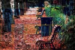 Los bancos (seguicollar) Tags: imagencreativa photomanipulación art arte artecreativo artedigital virginiaseguí bancos perspectivatroncos árboles hojas otoño green