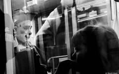 The clown in the subway (BenoitGEETS-Photography) Tags: brussels bruxelles bn bw nb noiretblanc blackwhite streetphoto huawei p8 clown subway tram metro