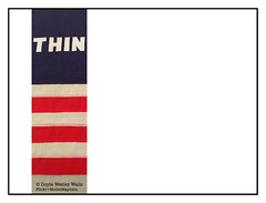 """Because I've Been Thinking about the Founding Fathers of the American Experiment, and Because I've Been Thinking about How Few Americans Know Them and Their Ideas, I Felt Compelled to Update William Nelson Copley's """"Think"""" Flag I Recently Photographed (Doyle Wesley Walls) Tags: lagniappe 8512 flag williamnelsoncopley text word crop redwhiteandblue ignorance thin think doylewesleywalls edit oldglory starsandstripes publiceducation history politics government ideas intellectuals foundingfathers sittingontheshouldersofgiants billofrights theconstitution thedeclarationofindependence thosewhocannotrememberthepast renaissancemen civics cply"""