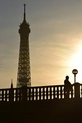 Paris silhouettes (James_D_Images) Tags: paris france silhouette eiffel tower bridge figure person church spire streetlight lamp post railing evening sunset