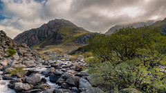 Afon Ogwen looking east to Tryfan (Mark Palombella Hart) Tags: snowdonia photography photographer photooftheday potd photo river wales stones trees rocks mountains water clouds autumn landscape