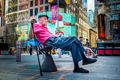 The New Yorkers - Retirement (François Escriva) Tags: street photography us usa nyc ny candid people olympus omd elder old man retirement cool times square stick sprite white pink photo rue slippers billboard colors green blue red streetphotography