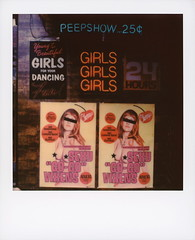 Girls Girls Girls (tobysx70) Tags: polaroid originals color sx70 instant film sx70sonar sonar girlsgirlsgirls hollywood blvd boulevard los angeles la california ca neon sign poster peep show strip club peepshow young beautiful girls for your dancing fun 24 hours cherry's sexy gogo vixens breast actress no inhibitions looking back clothes adults only entertainment you've never seen much vavavoom naked woman censored nipples boobs movie set dressing toby hancock photography