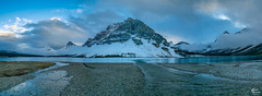 Bow Lake with Winter around the Corner (mtfernandes.01) Tags: bow lake alberta canada travel nikon d850 tourism landscape outdoor nature snow ice clouds cloudy cloud mountain mountains tree trees long exposure water shore sky sunset