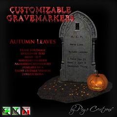 ღ ♡  Gravemarkers - Autumn Leaves Lt by Page Creations™ ♡ ღ (Raven Page) Tags: halloween props decor mesh spooky scary fog pumpkins gothic goth