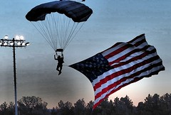 Parachute and the American Flag at Air Academy 101918 (Andy Murdock) Tags: usafa parachute us flag colorado academy pueblo west cyclones football kadets air