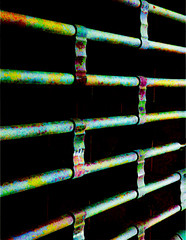 Coloured Metal (Steve Taylor (Photography)) Tags: digitalart gate shutter colourful black metal newzealand nz southisland canterbury christchurch city cbd perspective