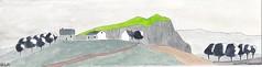 Paysage d'Abrac (J-M.I) Tags: dessin illustration graphisme aubrac vines artiste exposition orlhaguet eglise aquarelle paysage aveyron