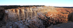 Bryce Canyon - Some Snow Left (Drriss & Marrionn) Tags: travel utah usa landscape landscapes mountains desert rock rockformation ridge cliff cliffs mountainside canyon brycecanyon red sand mountain snow nature trees forest mountainrange rocks brycecanyonnationalpark pano panorama sky