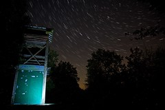 Snelsmore Common Fire Tower at night (ebalch) Tags: snelsmorecommon snelsmore berkshire westberkshire fire tower night stars starstax stacked ebalch canon 5d trees autumn witharsenal