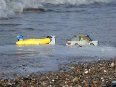 Bubble Bath (captain_joe) Tags: sooc toy spielzeug 365toyproject lego minifigure minifig moc car auto taucher diver schlauchboot beach strand wasser water wellen