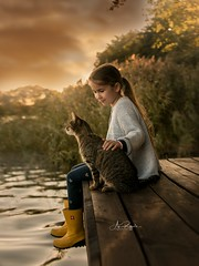 last Day (agirygula) Tags: sea lake goldenhour clouds cat girl yellow rubber boots girlandcat childwithcat childhood children water magical lovely beautiful