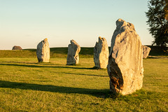 Long shadows at Avebury stone circle (Keith in Exeter) Tags: avebury stonecircle wiltshire england neolithic ancient henge bank grass field tree landscape shadow sunset sky goldenhour