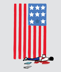 Deadly Weapon (DOWNSIGN) Tags: america flag weapon stars student book paper usa unitedstates editorialillustration art illustration samomo downsign