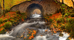 The Hidden bridge (donnnnnny) Tags: panorama hiddenbridge stonebridge oldscottishbridge scotland highlands kiltarlity inverness waterfall autumnleaves autumn fall colour color