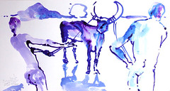 AFRICA TO THE NAKED 291 (eduard muntada) Tags: africa to the naked 291 watercolor africanpeople simplicity mountains river sun light survive