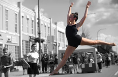 Airborn (Anthony Mark Images) Tags: people portrait female dancer performance stage outdoors jump airborn leap younglady prettygirl tiedhair blackbodysuit monochrome blackandwhite selectivecolour bestival belmontstreetfestival kitchener ontario canada bojanglesdancestudios nikon d850 graceful lovely