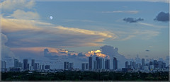 Another blue sunset in Downtown Miami. (Aglez the city guy ☺) Tags: cityscapes city colors clouds moon exploration urbanexploration outdoors blue thebluehour miamifl miamicity architecture building allapattah midtownmiami