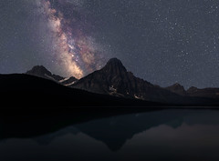 Milky Way at Waterfowl Lakes (NickSouvall) Tags: waterfowl lakes water lake reflection tuqoise dark night sky clear haze stars astro astrophotography landscape nature nightscape milky way galaxy mountain mount chephren canadian rockies banff national park canada color light icefields parkway view