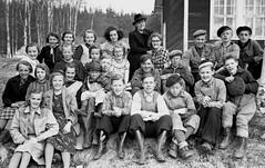 Class photo (theirhistory) Tags: boy children kids girl jumper jacket shirt shoes wellies coat wellingtons
