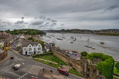 View from Conwy Castle (Evoljo) Tags: conwycastle wales view sea boats cars conwy shops houses water road sky clouds nikon d500 hdr