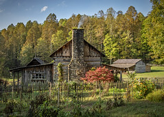 Pioneer Farm (jmhutnik) Tags: farm westvirginia pioneerfarm cabin chimney smoke barn autumn stone