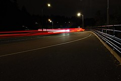Light trail on the Sir George-Étienne Cartier Parkway (Pwern2) Tags: ottawa ottawaregion ncr nationalcapitalcommission ncc nationalcapitalregion light lighttrail cars rockliffe street rockliffelookout concrete streetlamps carlights carheadlights longexposure highaperture sirgeorgeetiennecartierparkway road night blur lines trees tree railling sky streetlights headlights sirgeorgeétiennecartierparkway