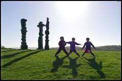 3 Amigos (NickD71) Tags: panasonic lumix dmc lx100 snapseed yorkshire sculpture park wakefield uk county kids children siblings shadows low sun autumn fall