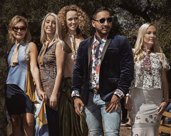 The World's Most Interesting Women and Man (Tex Texin) Tags: exhibition francefair frenchproducts model paloalto designer fashionshow interesting girls women man beauty style blue suit jacket solerena julie katya arturo sarah ateliervertex skintie necktie