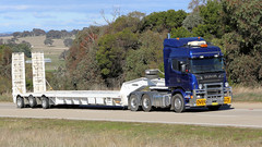 Jerrawa BLUE (3/3) (Jungle Jack Movements (ferroequinologist)) Tags: jerrawa yass sydney nsw new south wales hume highway freeway kenworth western star scania blue steel low loader milthrorpe corowa townsville hp horsepower big rig haul haulage freight cabover trucker drive transport carry delivery bulk lorry hgv wagon road nose semi trailer deliver cargo interstate articulated vehicle load freighter ship move roll motor engine power teamster truck tractor prime mover diesel injected driver cab cabin loud rumble beast wheel exhaust double b grunt brantrans