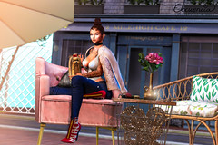 Queen bee (elocuenciaresident) Tags: hair hairbase se catwa queen bee brown kustom9 top asteria linda white c88 jeans ison livie marine boots vale koer vague heels n21 skin glam affair eliza applier cardigan cocoshouldercardigan puppy black bantam best show yorkie gacha table right chair tarte havana lounge gold flower pot dust bunny tabletop plants pink peony backdrop minimal milehigh cafe bloggerpack shiny shabby