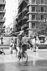 Valencia Life (Anna Sikorskiy) Tags: bw blackandwhite streetphotography street streetart statue fountain people urban life lifestyle leisure city cityscape architecture bicycle atmosphere mood europe spain canon