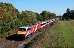 91101 (Resilient741) Tags: 91101 91001 swallow flying scotsman railway ecml east coast main line stealth loco electric electra locomotive hauled passenger train hampole doncaster pole photo photography london north eastern trains railroad