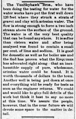 1892 - Vanskyhawk Bros drill test well for water works - Enquirer - 11 Mar 1892