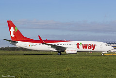 T'way Air 737-800 EI-ESL (HL8323) (birrlad) Tags: shannon snn international airport ireland aircraft aviation airplane airplanes airline airliner airlines airways tow taxiway taxi painting iac eirtech hangar maintenance delivery tway air boeing b737 b738 737 737800 7378as eiesl hl8323