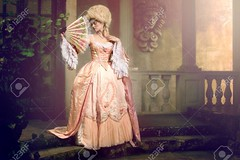 Victorian lady posing in vintage exterior (Parham.P) Tags: 18th antique back beautiful beauty blush castle caucasian century classic dress elegant fan fashion girl glamour gown hair hairstyle historic historical history exterior jewelry lady lips makeup model old pale pink plants porch portrait posing red renaissance retro romantic royal style updo victorian vintage white wig woman young