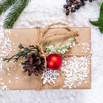 Festive background with a gift. The concept of surprise, make loved ones pleasant thumbnail