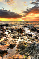 Painting of nature (Peter Szasz) Tags: hawaii maui kihei kamaole pacific painting nature landscape light clouds colourful calm hdr ocean orange outside summer sea sky sun sunset stones scenery beach pool peaceful rocks reflection tropical tranquil