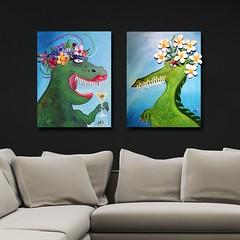 Flowergirls on the wall (MadArt70) Tags: magnus dacke madart 2018 painting art acrylic canvas akryl duk ny new osby no1 animal dinosaur flowers lips lipstick colors sparkle drink 3d green blue teath trex